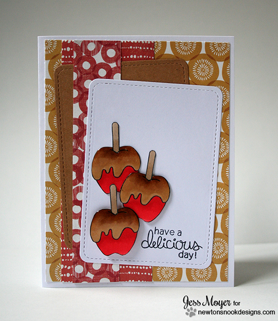 Caramel apple card by Jess Moyer for Newton's Nook Designs | Apple Delights Stamp Set
