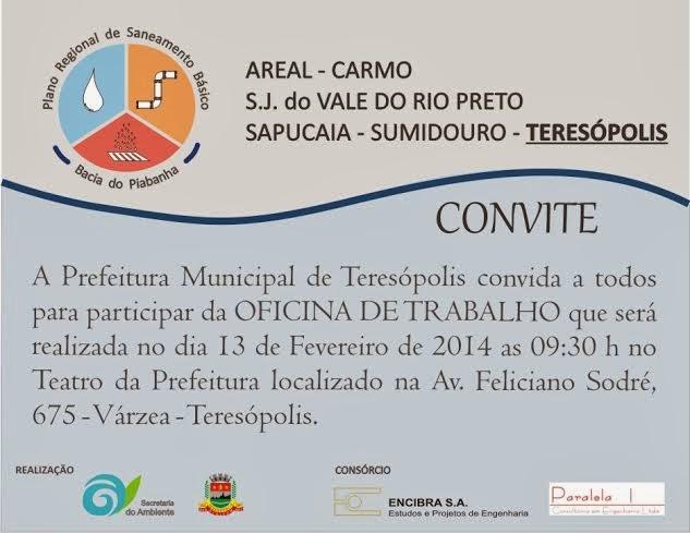 Oficina de trabalho sobre o Plano Regional de Saneamento Básico - Bacia Piabanha será realizado dia 13/02 em Teresópolis