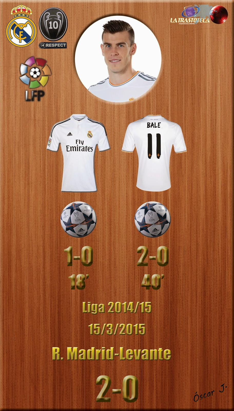Gareth Bale (Doblete) - Real Madrid 2-0 Levante - Liga 2014/15 - Jornada 27 - (15/3/2015)