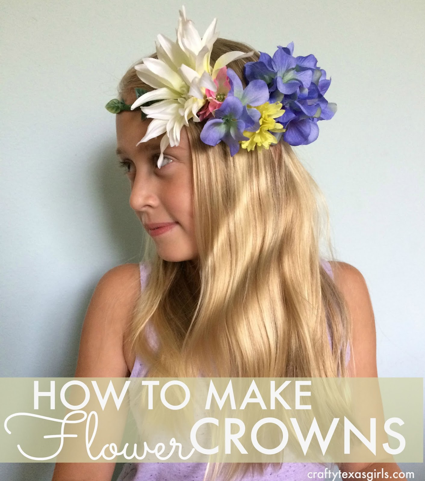 Crafty texas girls diy how to make flower crowns the supplies needed are floral wire i like this kind that is pre wrapped but the plain green works well too silk flowers or real of your choice izmirmasajfo