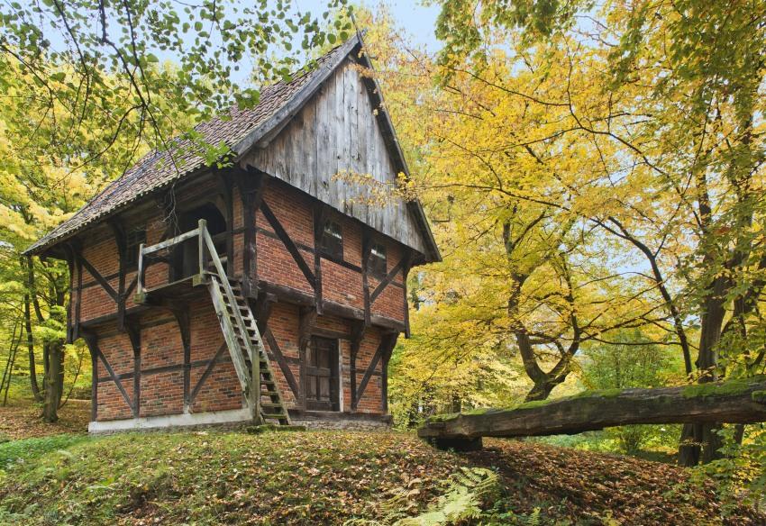 Autumn in a ancient german village. Freilichtmuseum Detmold.