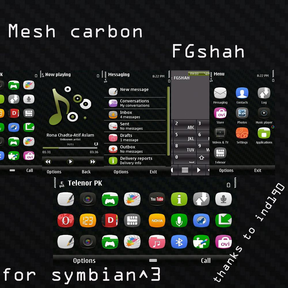 Mesh Carbon  FGshah Mesh Carbon Nokia Symbian^3 Theme For C6 01, E7, N8, C7