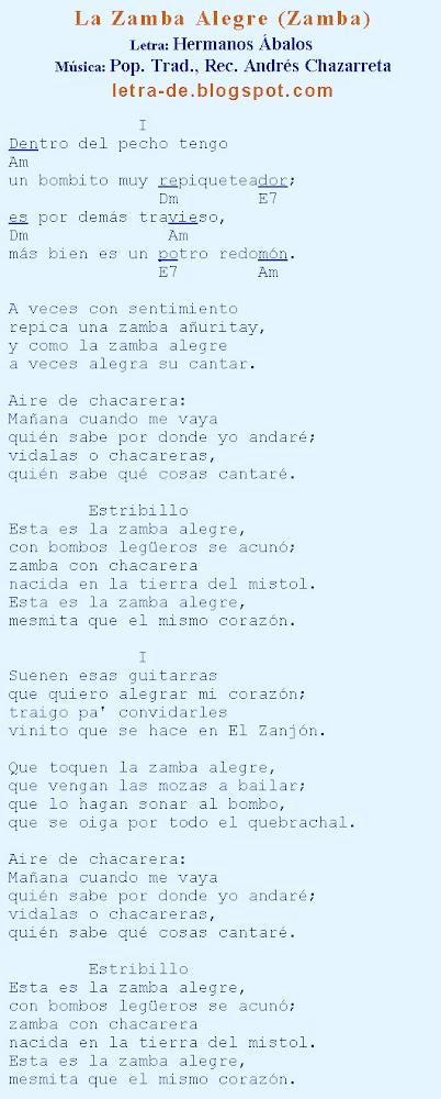 letra de la cancion zamba de: