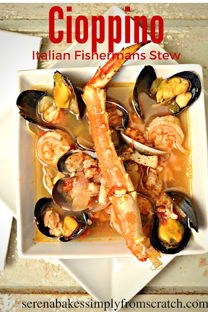 Cioppino Italian Fisherman's Stew a Christmas tradition in our house! So good with plenty of seafood. serenabakessimplyfromscratch.com