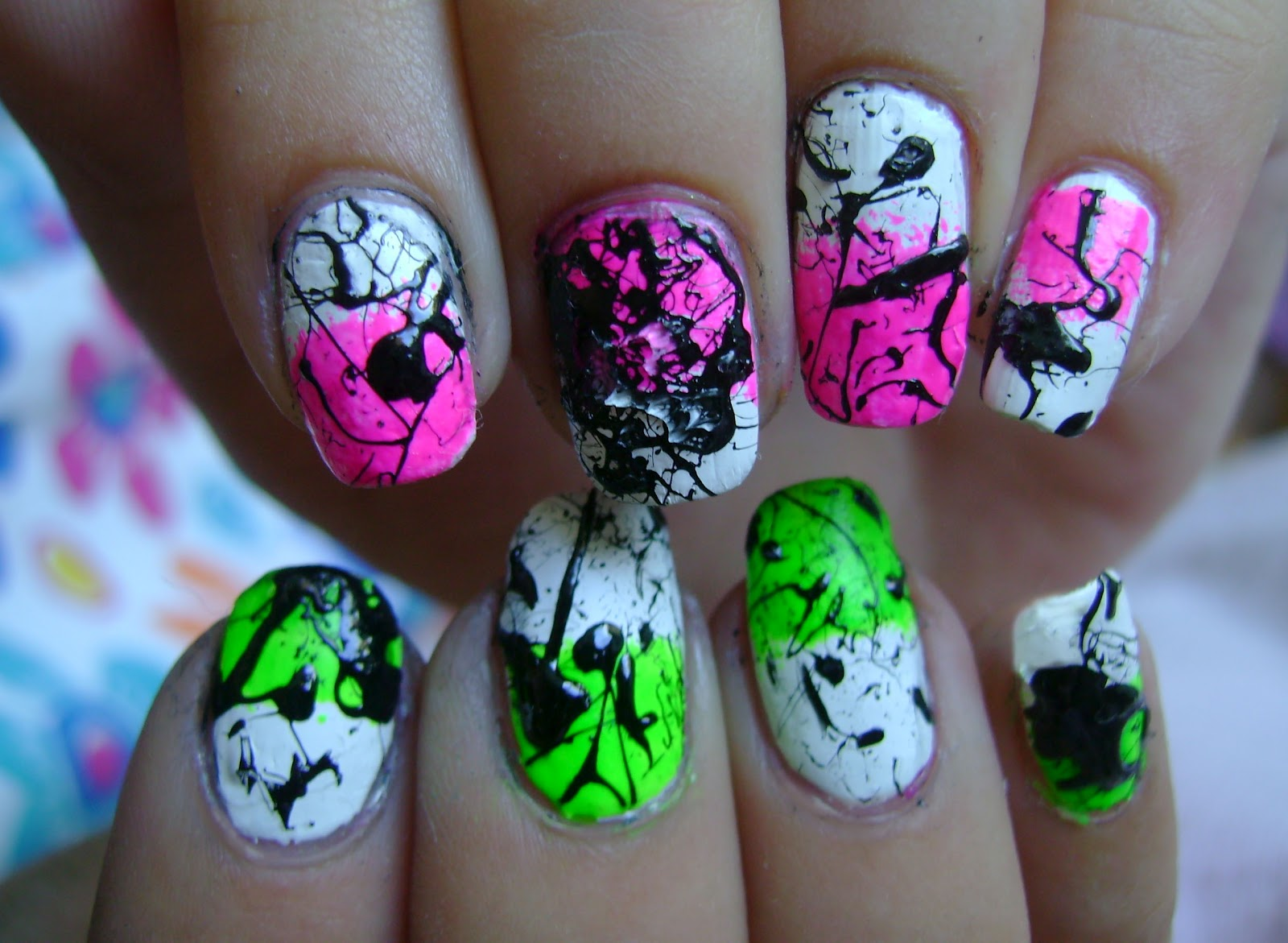 Acrylic Nail Art Designs Tutorial Create Splatter Nails Using A Straw