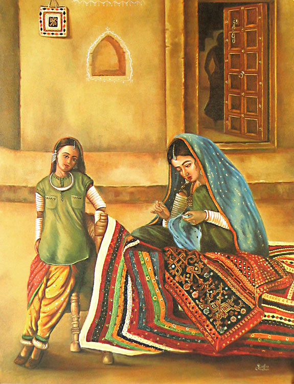 Rajasthani Girls Art Paintings 12