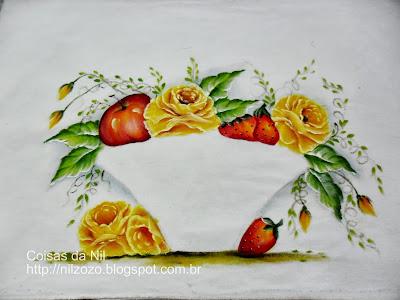 pintura de frutas e rosas para aplicar cesta de tecido ou croche