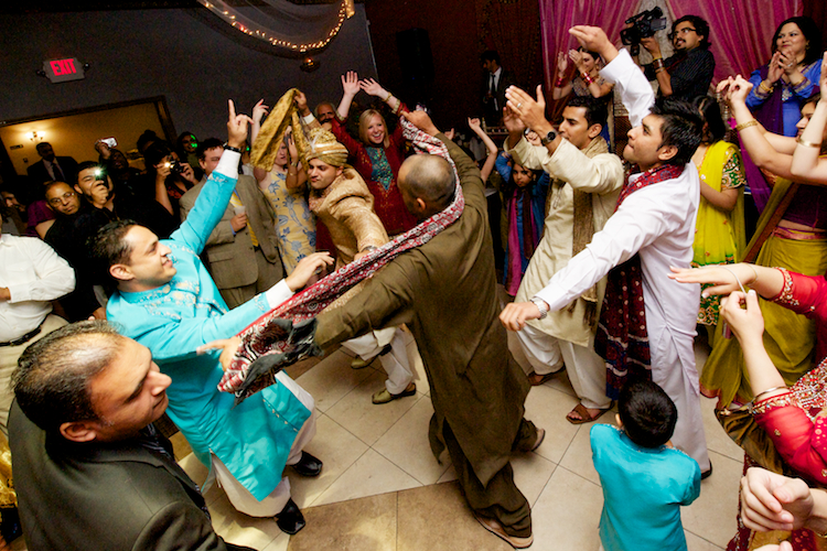 Pakistani wedding celebration dance photos.