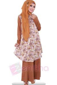 Zenitha Gamis Zn112 - Coklat (Toko Jilbab dan Busana Muslimah Terbaru)