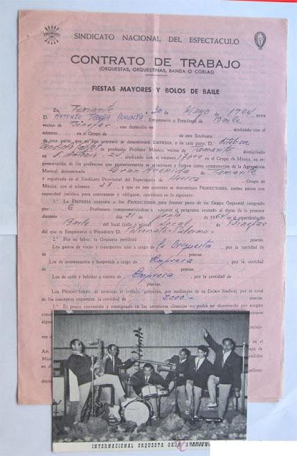 Orquesta Gran Avenida en el Palermo de Binéfar. Contrato
