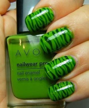 Green Stripe Polish Zebra Nail Tips