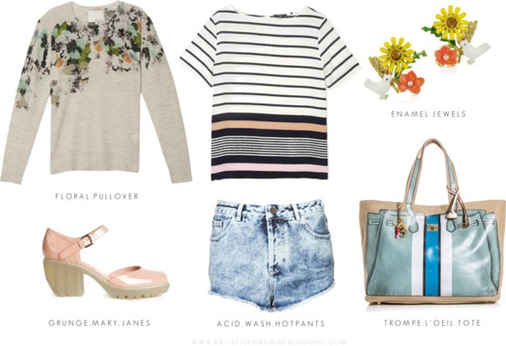 Feminine Grunge with florals and acid wash denim is perfect for a weekend of lounging