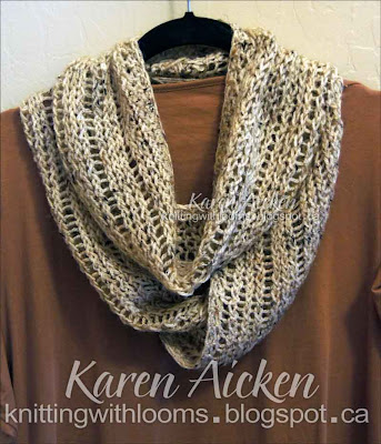 Loom Knit Infinity Scarf Pattern : Knitting With Looms: Finished Birthday Cowl