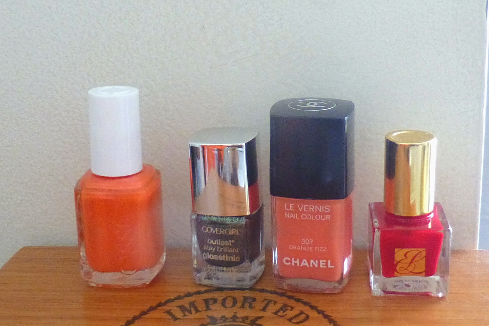 channel orange fizz, essie polish, estee lauder pure color