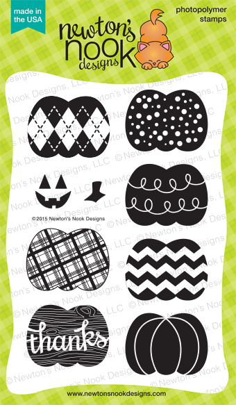 Pick-a-Pumpkin 4x6 photopolymer stamp set | Newton's Nook Designs #newtonsnook #pumpkin