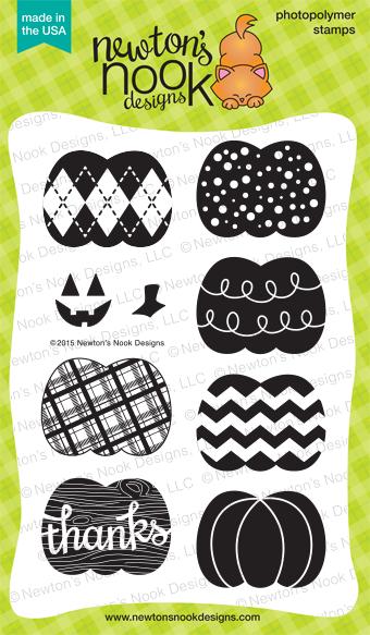 Pick-a-Pumpkin 4x6 photopolymer stamp set | Newton's Nook Designs #newtonsnook #pumpkin