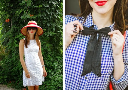 all white dress, 4th of july outfit, womens bow tie, asos bow tie, gingham shirt, gap boyfriend shirt