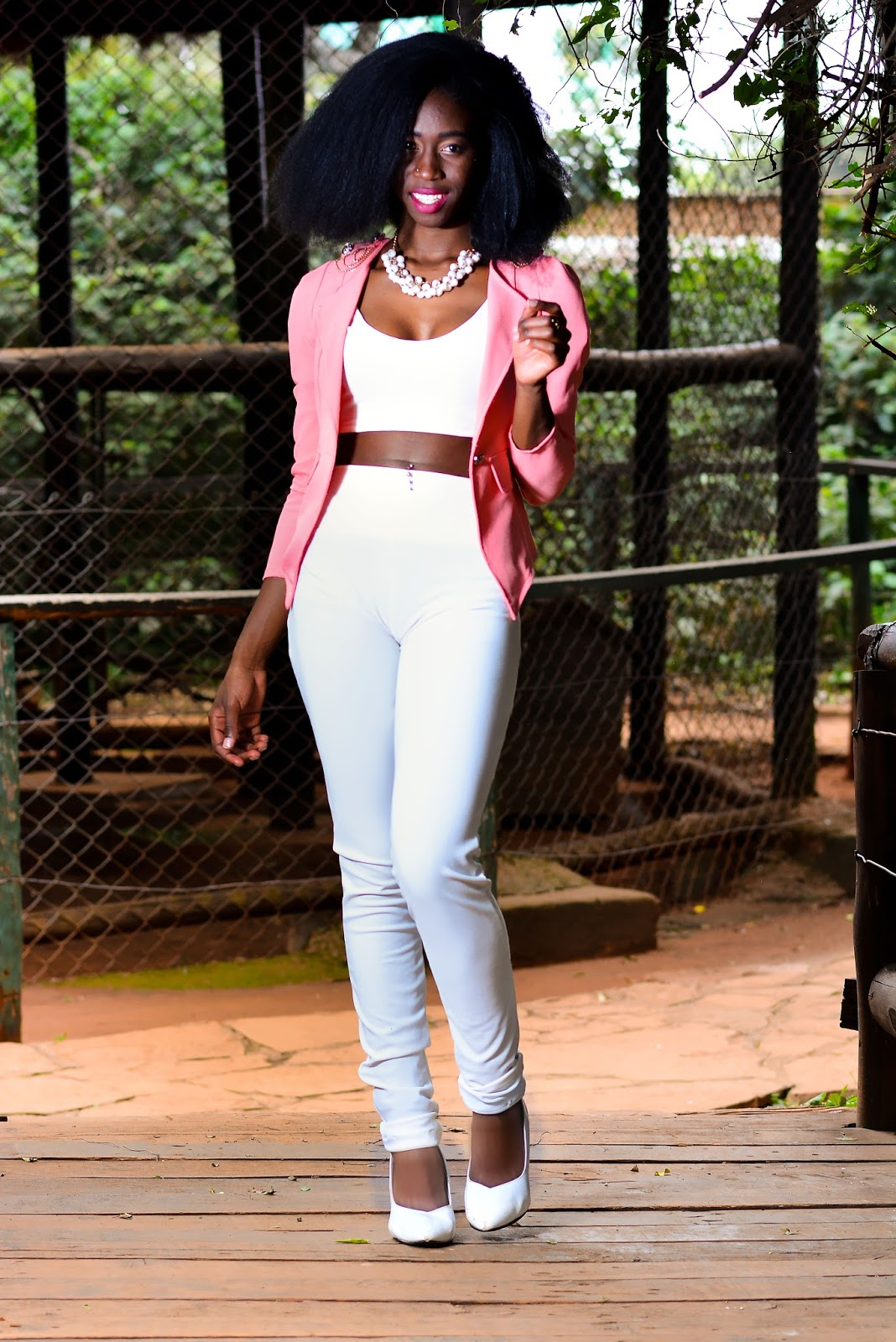 crop top trend, how to wear a crop top, all white crop top outfit, corol pink coat outfit, style with ezil, Ezil, African fashion blogger, Kenyan fashion blogger