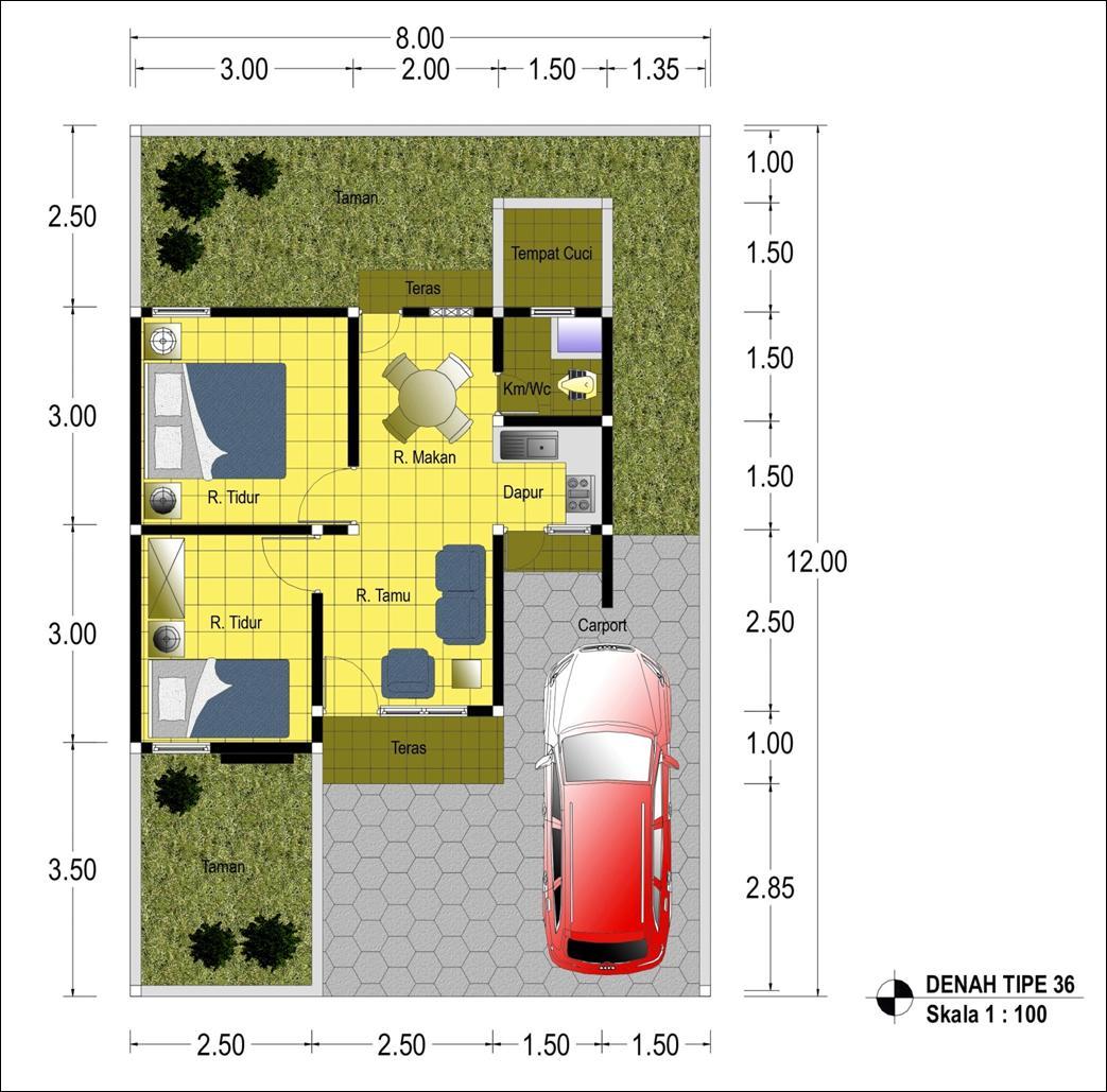 gambar denah rumah type 36 ukurannya freewaremini