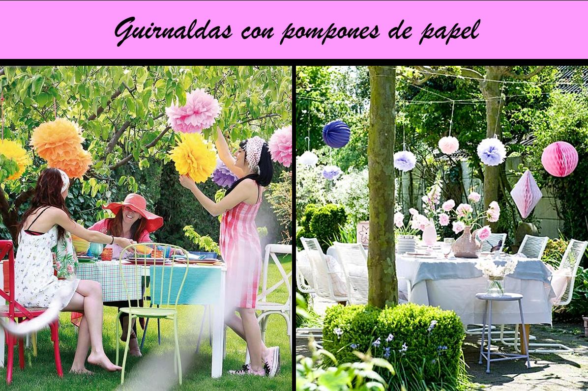 Decoracion Al Aire Libre De Fiestas Infantiles ~ Decoraci?n de exterior con guirnaldas de pompones de papel