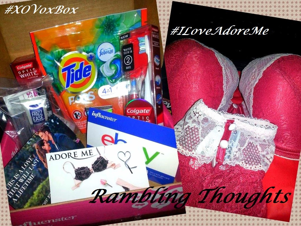 Rambling Thoughts' free items from today's mail, Influenster's XO Voxbox and Adore Me Lingerie