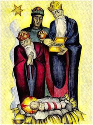 En la imagen los tres Reyes Magos adorando al Niño Jesus.