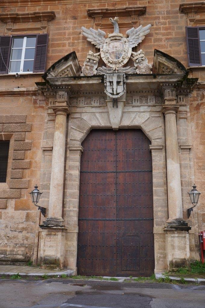 Grand door at the Palazzo Reale o dei Normanni in Palermo Sicility Italy.