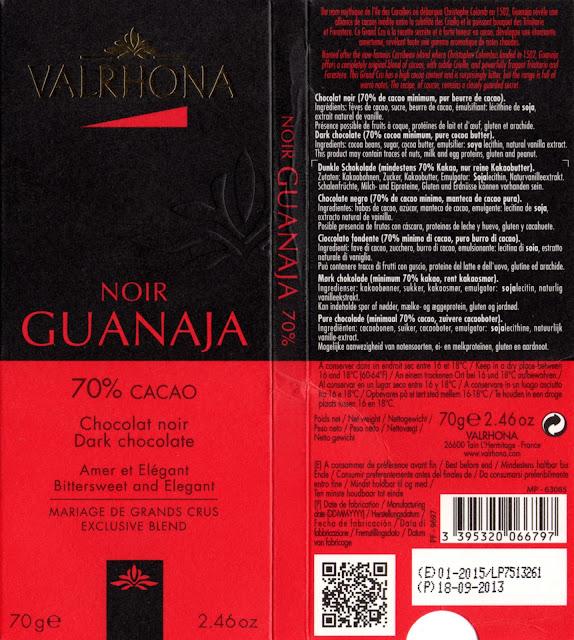 tablette de chocolat noir dégustation valrhona noir guanaja 70