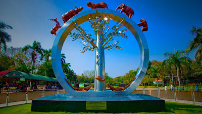The Nehru Zoological Park is located near Mir Alam Tank in Hyderabad