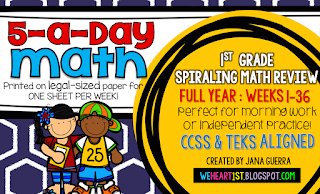 https://www.teacherspayteachers.com/Product/5-a-Day-Math-First-Grade-Spiraling-Review-FULL-YEAR-1623555