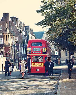 guests outside Routemaster wedding bus
