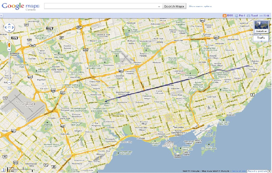 Google Map of Eglinton-Crosstown LRT - with tunnel high-lighted
