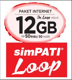 Cara Daftar Paket Internet Bulanan SimPATI LOOP 12GB Hanya 50 Ribu