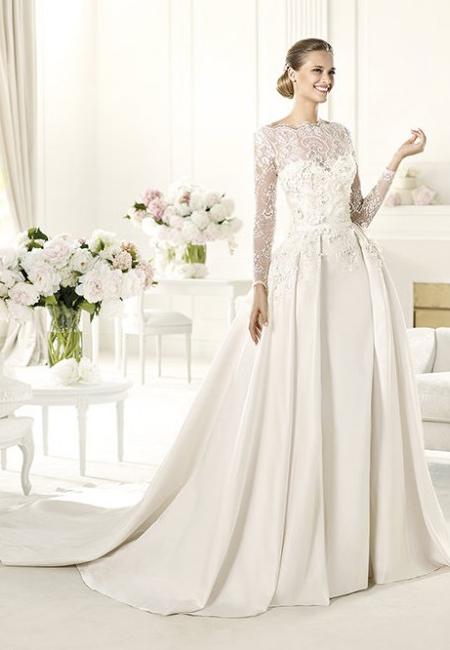 Сватбена рокля с пищна пола от сатен и дантела Elie By Elie Saab 2013