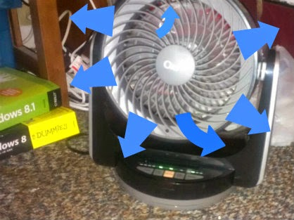 ozeri brezza iii desk fan in place