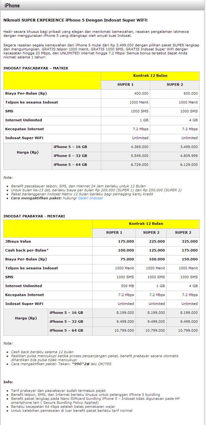 Harga iPhone 5 Indosat