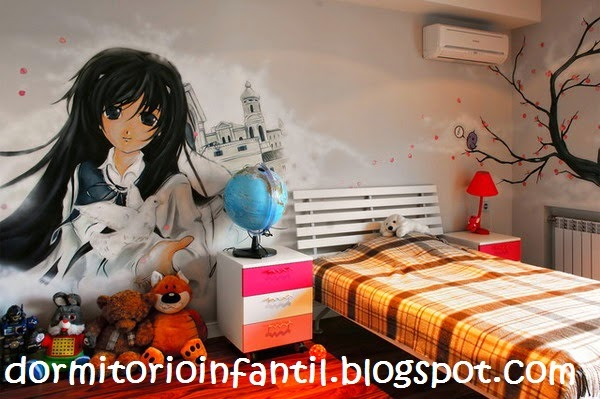 DORMITORIO CON ANIMES - DECORA LOS DORMITORIOS JUVENILES CON LOS ANIMES DE TUS MANGAS FAVORITOS vía http://dormitorioinfantil.blogspot.com/2014/03/dormitorio-anime-decoracion-de.html