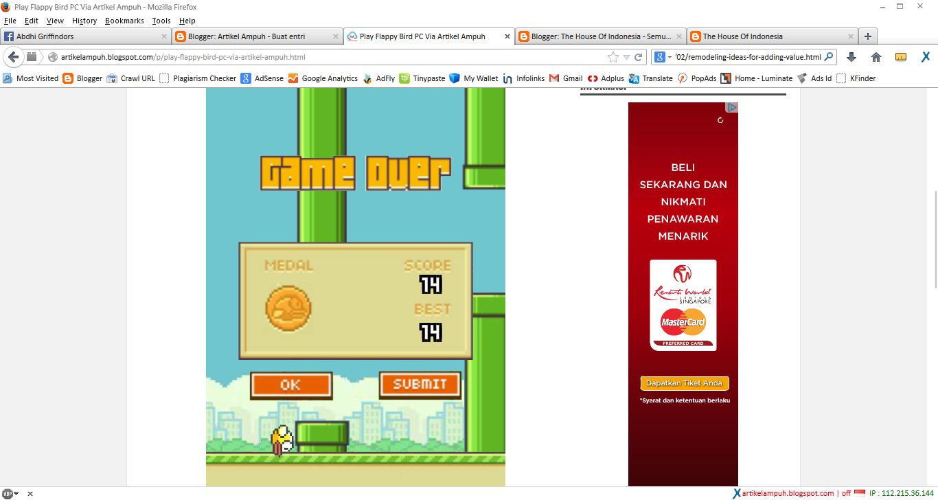 Cara Bermain Flappy Bird Melalui Komputer