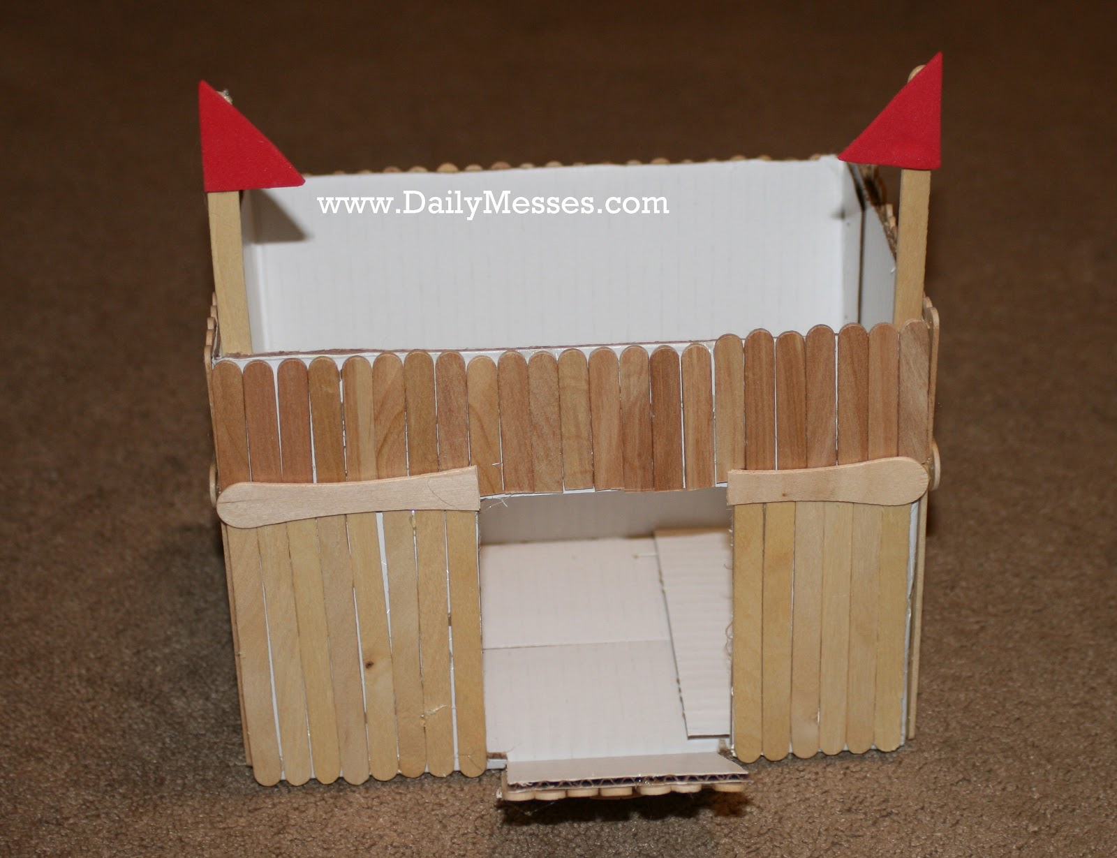 Easy Forts To Build Daily Messes Fun With Popsicle Sticks Homemade Fort And Castle