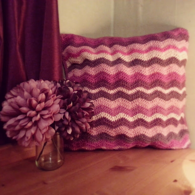 Crochet ripple stitch cushion cover