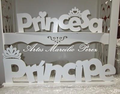 letras para mesa Principe e Princesa