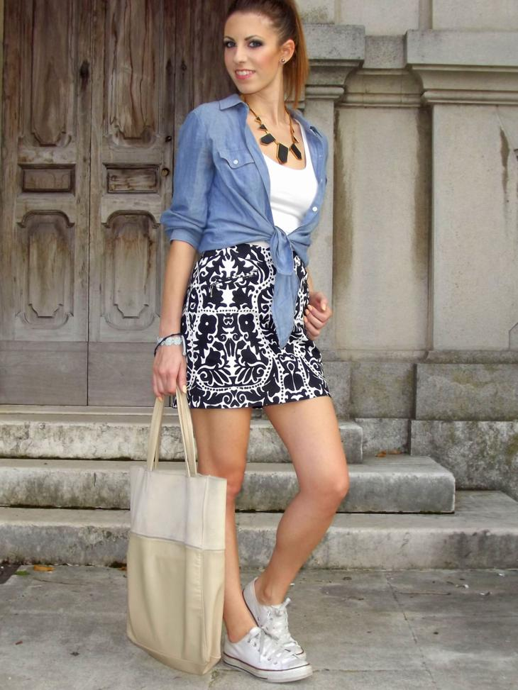 Back to School Outfit Denim Blouse Tribal Skirt
