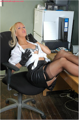 Sexy Secretary Leather skirt and stockings....