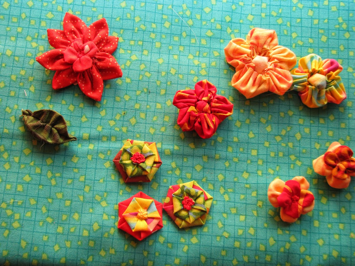 variety of fabric flowers
