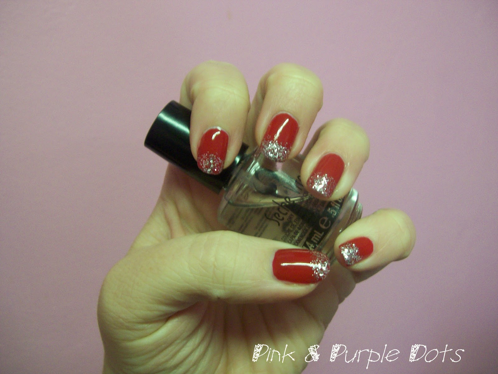 Pink & Purple Dots: Red and Silver Glitter Tips ♥