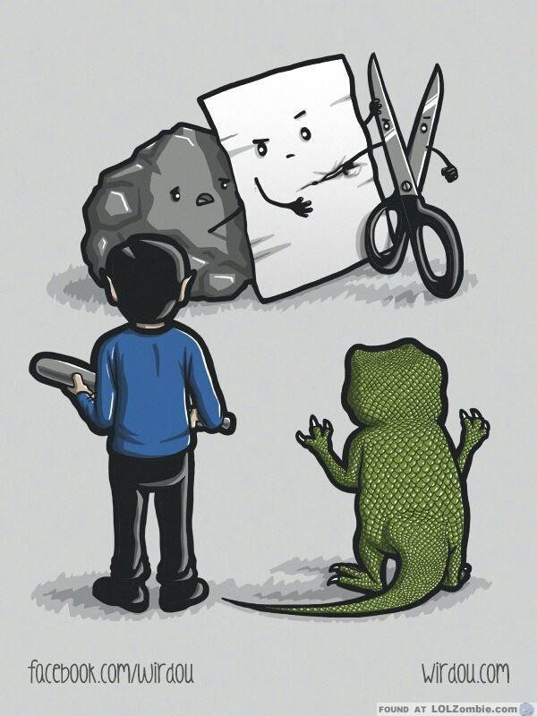 Ilustración de piedra, papel, tijeras, lagarto, spock