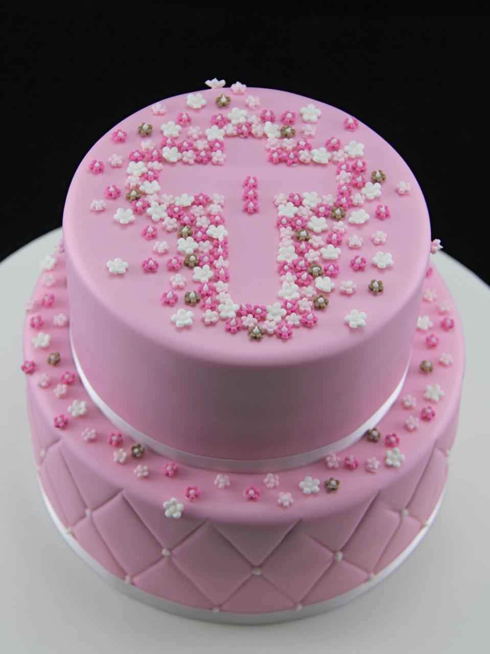 Cake Design For Christening : Coco Jo Cake Design: Pink Christening Cake