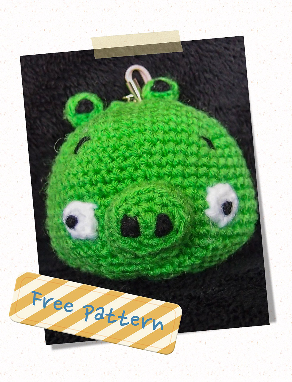 Black Angry Bird Amigurumi Pattern : Green Pig Crochet Pattern (Free) ~ Snacksies Handicraft Corner