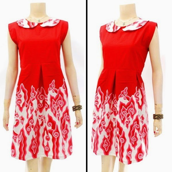 DB3822 Model Baju Dress Batik Modern Terbaru 2014