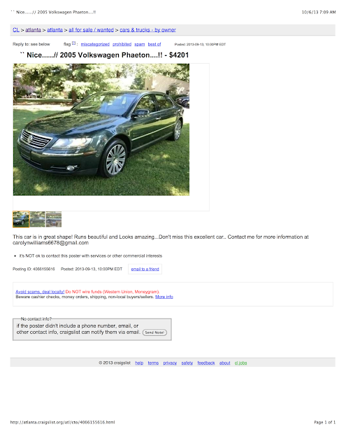 TheClassicCarFactory.com : The Google Wallet Internet Car Scam